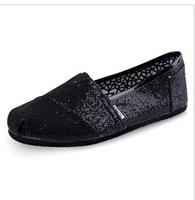 2015 summer sequins leisure flat canvas shoes women flat shoes