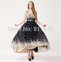 Vestidos Femininos 2015 New Women Dress Fashion Plus Size Flower Print Dresses With belt