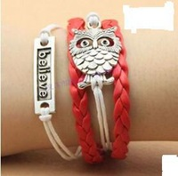 SL0097 Hot New Fashion Wholesales Believe Owl Infinity Multilayer Leather Bracelet Accessories Jewelry for Women Bangle