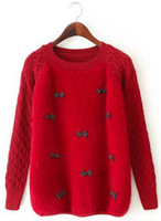 2015 New Women Candy Color Wool Sweater Bowknot Decorated Elegant Comfy Knitwear Sweet Girl Wears Tops#QJJ391
