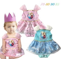 EMS DHL free shipping Baby Girls kid Light Blue Pink Frozen one piece Cute Romper Princess Baby Girls Clothing