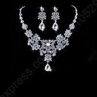 925 Sterling Silver Jewelry Sets 2015 Swiss Austrian Crystal Flower Water Drop Necklace+Earrings Wedding Jewelry Sets Brides