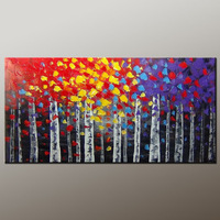 100% Hand Made Framed abstract oil painting Red leaves autumn  woods Landscape painting canvas painting wall art home decoration