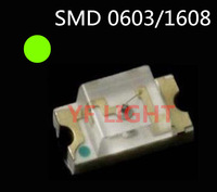 Taiwan chipset 1608 smd led Green LED 568-575nm 2.0-2.5V SMT 0603 LED DIODES 4000PCS