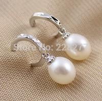 wholesale drop earrings Wedding natural freshwater pearl earrings 925 sterling silver earrings,cheap and high qualtiy, hot sale