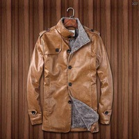 Genuine Leather with wool liner winter men leather suede, fashion brand coat, warm jackets