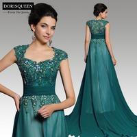 Free shipping New arrival Dorisqueen fashion 31207 elegant A-line floor length beaded elegant green long evening dresses 2015