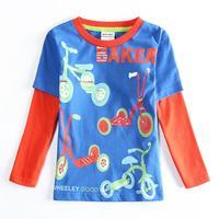Boy Clothes Children Boys T-shirt Shirts Fashion Cartoon Bike Printed Boys T shirt Autumn Child Clothing Nova Kids A5605