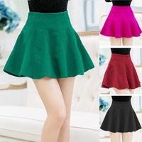 Hot Sale Solid Green Parachute Skirt High Waist Girls' Skirts Winter Dress