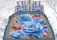 Blue Rose Quilt cover sets100%cotton 3d bedding sets/bedspread egyptian oil painting/bed set/duvet cover set bed linen/