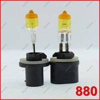 One Pair 12V 27W 880 Halogen Bulb Yellow Quartz Glass Car Headlight & Fog lamp Universal  Free Shipping ^^KKK