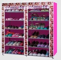 Simple shoe ark Double row reinforcing steel framework Oxford cloth receive shoe ark dustproof shoe rack shoe cabinet