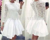 Fanshion New Women Long Sleeve Evening  Dress Ladies Vintage Lace Formal  Party Mini Dress