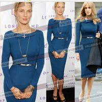 2014 Winter Fashion Dresses Long  Sleeve Slim Bodycon Sheath Knee-length Wear To Work Elegant Pencil Shift Blue Dress Plus Size