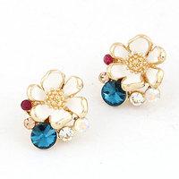 2014 fashion jewelry for women Korean boutique sweet personality earrings flower/jewelry earings/crystal multicolor earrings