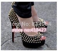 50%off Top 2014 New Women 140mm High Heels gold Matte Gomme Spikes Reviets Leather Women Pumps wedding Shoes Woman platform