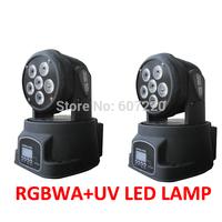 2xlot Led Moving Head Light Dj Wash Effect Light  RGBWA+UV 6 colors in 1 Mini Led Moving Head Wash Light