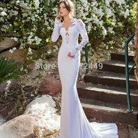 vestido de noiva 2015 Applique White Full Sleeves Wedding Dresses Mermaid Wedding Dress Elegant High Neck