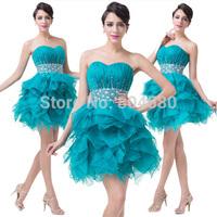 Elegant Strapless Beading Knee length Women Birthday Evening Party dress Formal Short Prom dresses Graduation Ball Gown CL6177