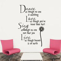 Dance&Love&Live Wall Stickers Decals Home Decor adesivo de parede Kids Children's Rooms Decor DIY Cartoon Wall Stickers