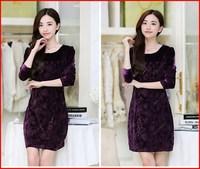 New Autumn corduroy velvet dress temperament&hip slim O-neck full-sleeved purple embossed pattern dress freeshipping^GG04