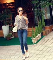 Spring and summer fashion personality leopard print chiffon shirt A13269