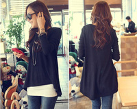 Women's long loose t personalized o-neck classic black irregular croppings A10016