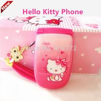 Cute Hello Kitty Flip Cell Phone w/ Luxury Rinestone Music Flash Light Mini Girl Phone Lady Children Kids Mobile Phone Best Gift