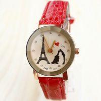 Romantic Style Quartz Watch Women Leather Bracelet Fashion Charm Clock Lovers Gift I Love You Rhinestone Watches Woman