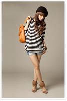 Women's long loose shirt solid color o-neck stripe A11006