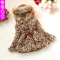 2015 NEW girls leopard fur collar coats girl winter hooded outerwear with belt children cotton padded winter clothing