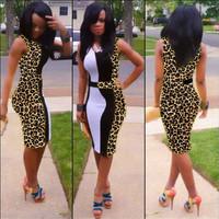 New Women Sexy Leopard Print Dress Ladies V-neck Sleeveless roupas femininas Casual Pachwork Bodycon Club Party Dress cx852808