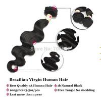 Free tangle 7A 100g/pcs unprocessed Brazilian virgin human hair extensions 1B natural black soft body wave remy human hair weave