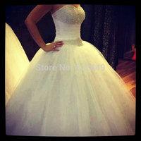 vestido de noiva 2015 Fashion White Wedding Dresses Tulle Sweetheart Wedding Dress Elegant Beaded With Rhinestone Ball Gown
