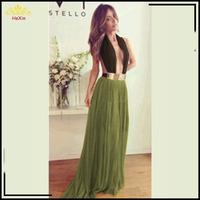 New 2014 Summer Casual Women Green Chiffon Dresses Sleeveless Front Open Formal Evening Dress Backless Vestido De Festa 9199