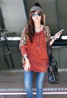 Casual women's batwing sleeve t-shirt leopard print crystal velvet patchwork wool goatswool A12553