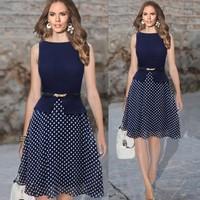 Women Spring Summer party Dress 2015 New Work Sleeveless Belt Polka Dot Print Office Dress Plus Size Knee Length Tunic Vestidos