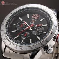 Shark Luxury Brand Dual Time Zone Display Luminous Silver Full Steel Strap Relojes Analog Quartz Men Sport Military Watch /SH316