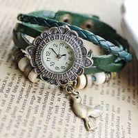 Handmade Antique Watch Chain Braided Cartoon Pigeon Sunflower Leather Quartz Watches Ladies Best Gift New Arrival