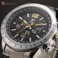 Shark Brand New 24 Hours Dual Time Zone Display Luminous Black Yellow Steel Band Relogio Sport Men Quartz Military Watch / SH317