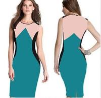Dropshipping 2015 Newest Women Elegant Spring Patchwork O-Neck Sleeveless Slimming Bodycon Knee-Length Dress S-XXL