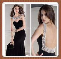 Custom Made Beading Crystal Sheer Neckline Sexy Open Backing Floor-Length Long Evening Dresses