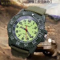 Hot Men's Canvas Strap Quartz Supper Light Luminous Face Rotay Dial Military Sport Wrist Watches Men Casual Clock Gift