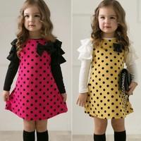 Free shipping 2014 new autumn /spring children clothing girls polka dot dress long-sleeve kids girls princess dress