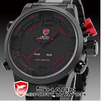 2015 Luxury brand Watch SHARK Analog Digital LED Stainless Steel Red Date Day Alarm Men's Sports Quartz Wrist Military Watch