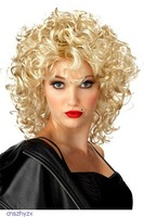 perruque Funky Curly wigging Short Blond Cosplay Party Wig pelucas