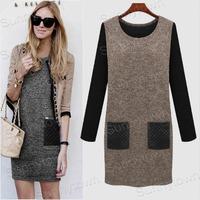 XL 2XL 3XL 4XL 5XL Plus size Women clothings 2015 autumn winter dresses long sleeve patchwork casual PU leather dress