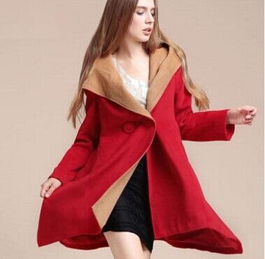 2015 european style winter Hooded cloak woolen coat women's wool coats high quality slim ladies long warm overcoats plus size(China (Mainland))