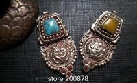 TBP565 Nepal handmade vintage brass capped turquoise coral bi pendants Ethnic fashion jewelry