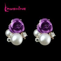 Perlas Earrings Fashion Bijoux Women Flower Decoration Double Imitation Pearl Cute Brand Stud Earrings for Women Wedding Gift